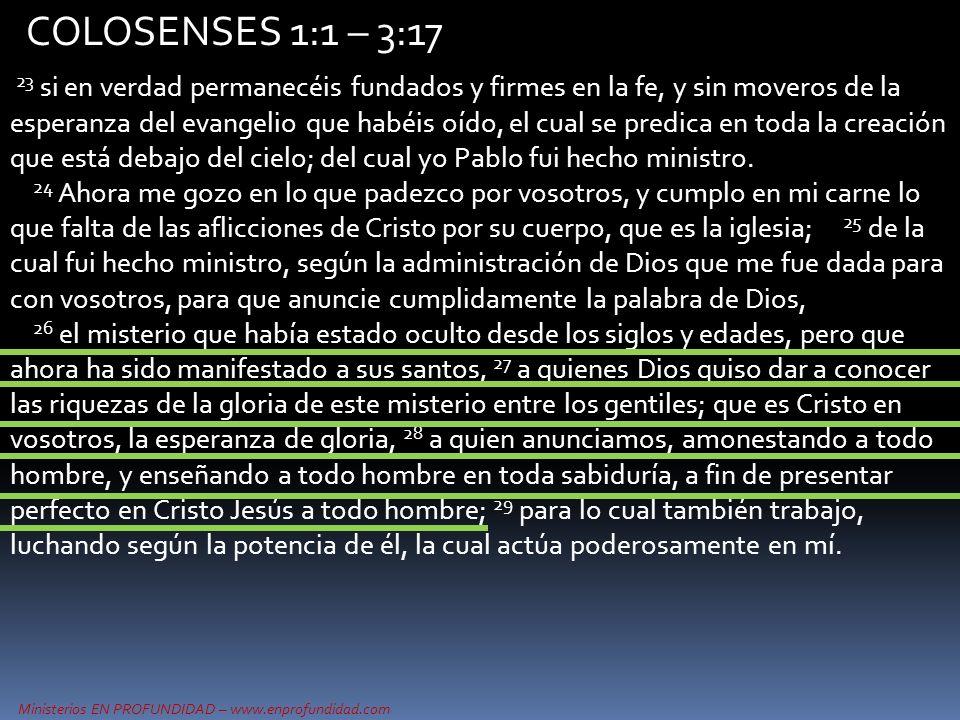 Ministerios EN PROFUNDIDAD – www.enprofundidad.com COLOSENSES 1:1 – 3:17 23 si en verdad permanecéis fundados y firmes en la fe, y sin moveros de la e