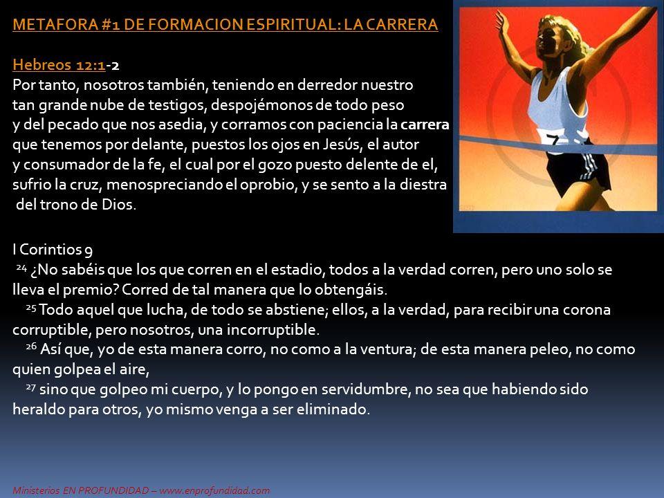 Ministerios EN PROFUNDIDAD – www.enprofundidad.com METAFORA #1 DE FORMACION ESPIRITUAL: LA CARRERA Hebreos 12:1Hebreos 12:1-2 Por tanto, nosotros tamb