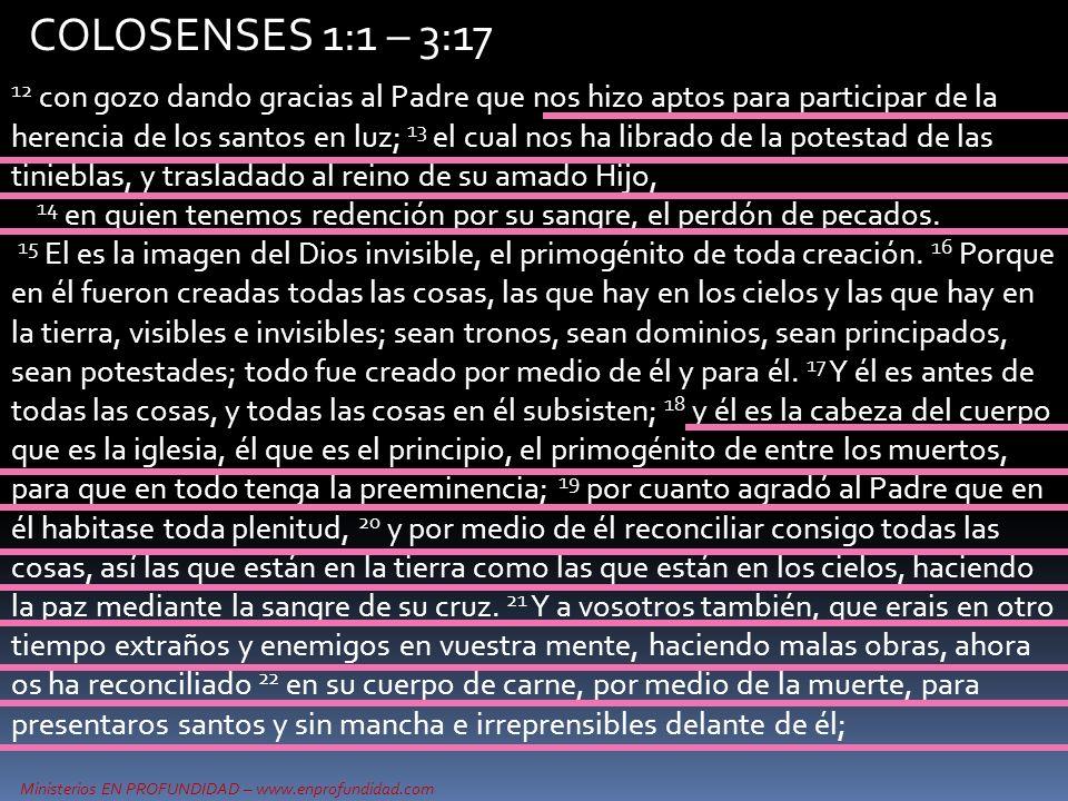Ministerios EN PROFUNDIDAD – www.enprofundidad.com COLOSENSES 1:1 – 3:17 12 con gozo dando gracias al Padre que nos hizo aptos para participar de la h