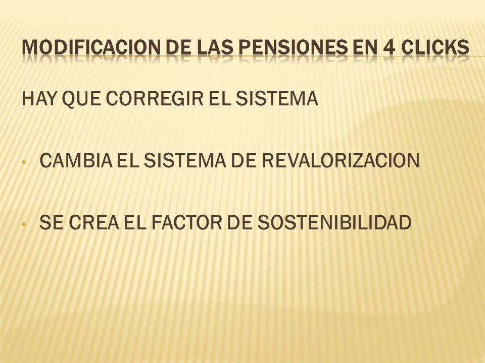 HAY QUE CORREGIR EL SISTEMA CAMBIA EL SISTEMA DE REVALORIZACION SE CREA EL FACTOR DE SOSTENIBILIDAD