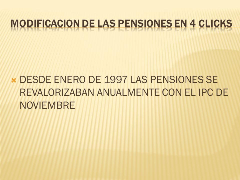 DESDE ENERO DE 1997 LAS PENSIONES SE REVALORIZABAN ANUALMENTE CON EL IPC DE NOVIEMBRE