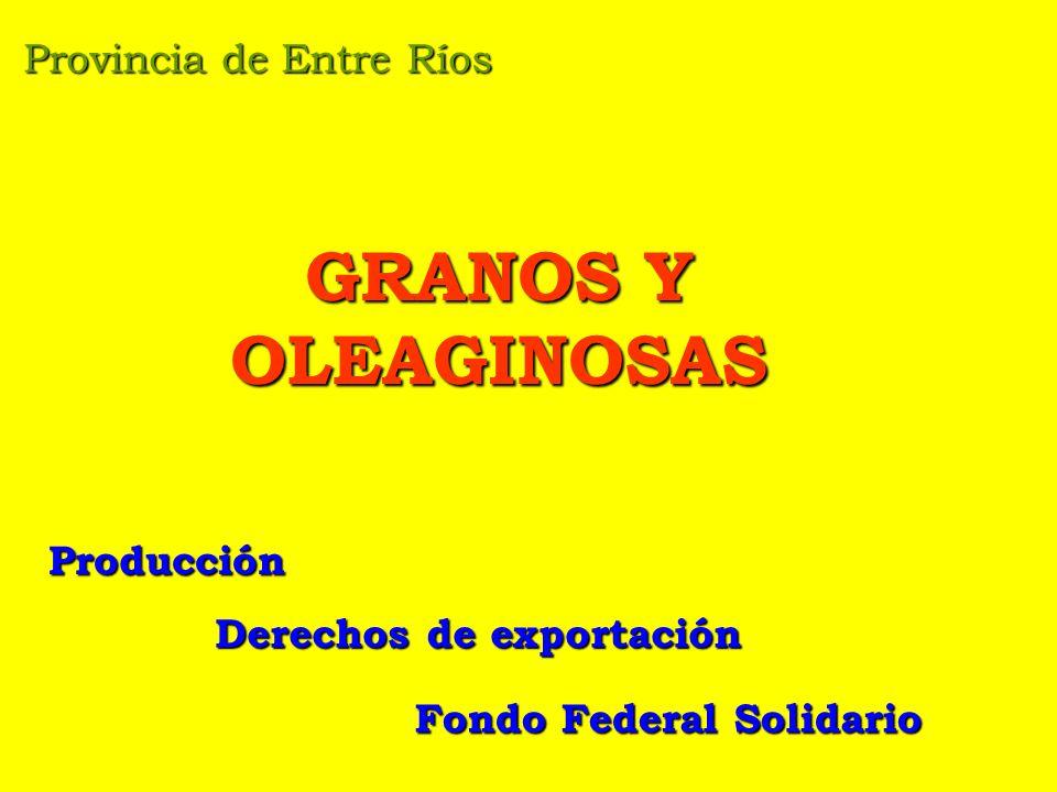 Provincia de Entre Ríos GRANOS Y OLEAGINOSAS Producción Derechos de exportación Fondo Federal Solidario