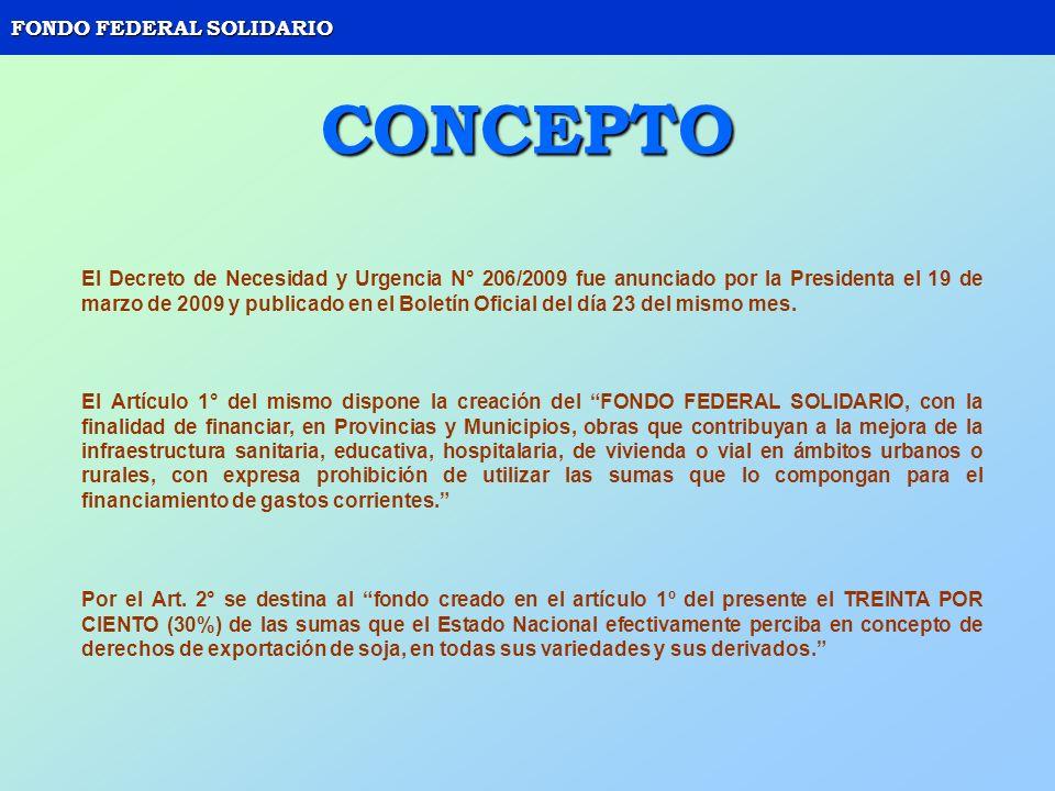 FONDO FEDERAL SOLIDARIO CONCEPTO El Decreto de Necesidad y Urgencia N° 206/2009 fue anunciado por la Presidenta el 19 de marzo de 2009 y publicado en