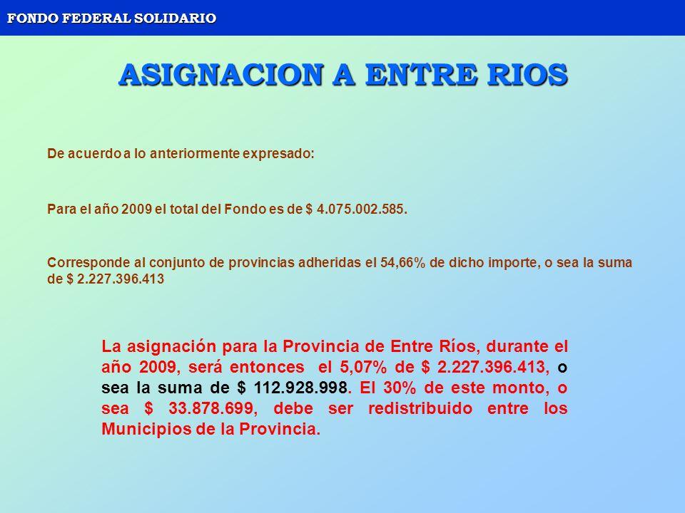 FONDO FEDERAL SOLIDARIO ASIGNACION A ENTRE RIOS De acuerdo a lo anteriormente expresado: Para el año 2009 el total del Fondo es de $ 4.075.002.585. Co