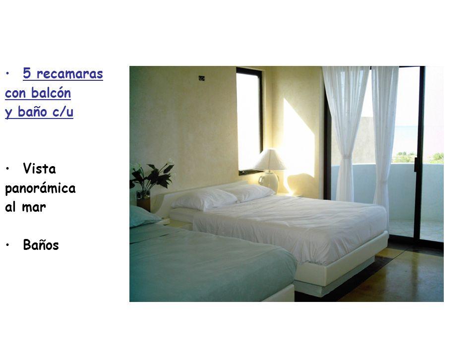 5 recamaras con balcón y baño c/u Vista panorámica al mar Baños