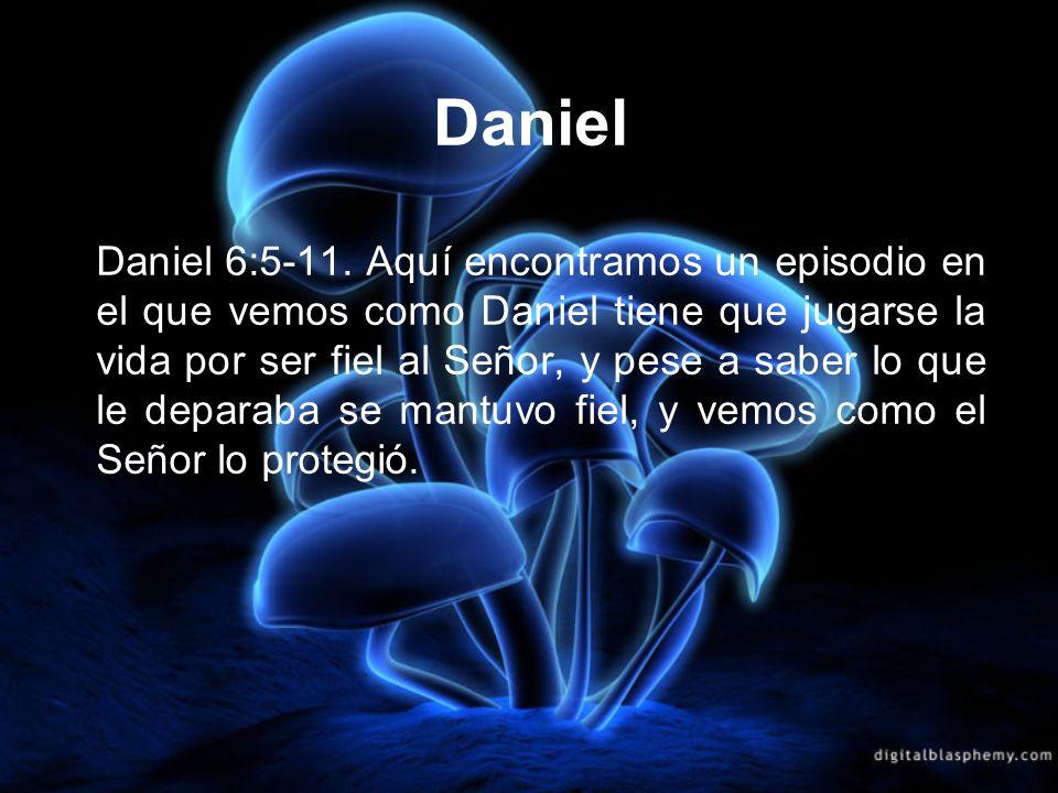 Daniel Daniel 6:5-11. Aquí encontramos un episodio en el que vemos como Daniel tiene que jugarse la vida por ser fiel al Señor, y pese a saber lo que
