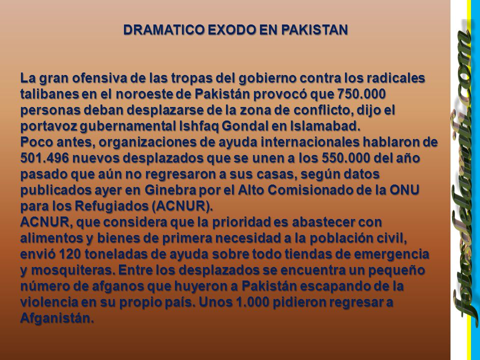 DRAMATICO EXODO EN PAKISTAN PAKISTAN