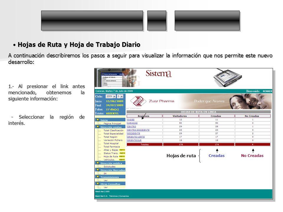 Hojas de Ruta y Hoja de Trabajo Diario Hojas de Ruta y Hoja de Trabajo Diario A continuación describiremos los pasos a seguir para visualizar la infor