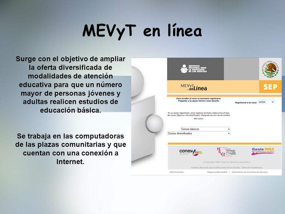 MEVyT en línea Surge con el objetivo de ampliar la oferta diversificada de modalidades de atención educativa para que un número mayor de personas jóve