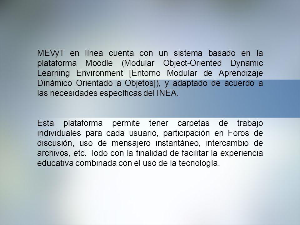 MEVyT en línea cuenta con un sistema basado en la plataforma Moodle (Modular Object-Oriented Dynamic Learning Environment [Entorno Modular de Aprendiz