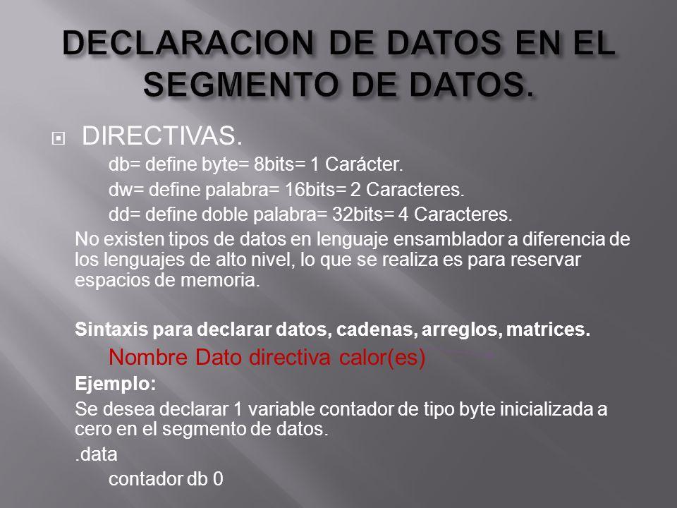 DIRECTIVAS. db= define byte= 8bits= 1 Carácter. dw= define palabra= 16bits= 2 Caracteres.