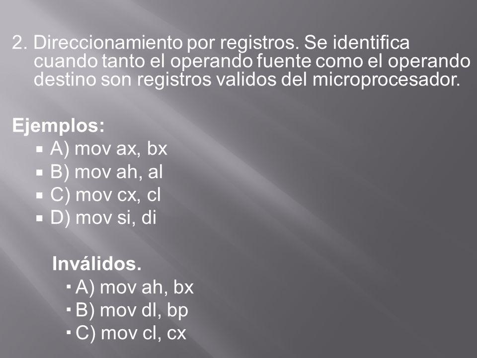 2. Direccionamiento por registros.