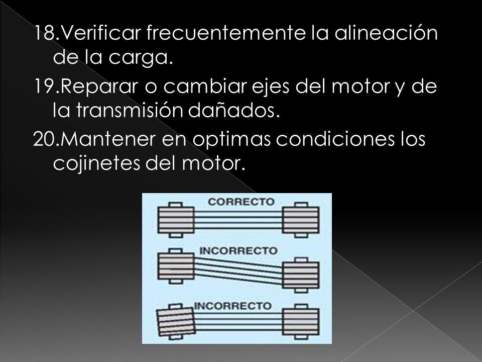 18.Verificar frecuentemente la alineación de la carga. 19.Reparar o cambiar ejes del motor y de la transmisión dañados. 20.Mantener en optimas condici