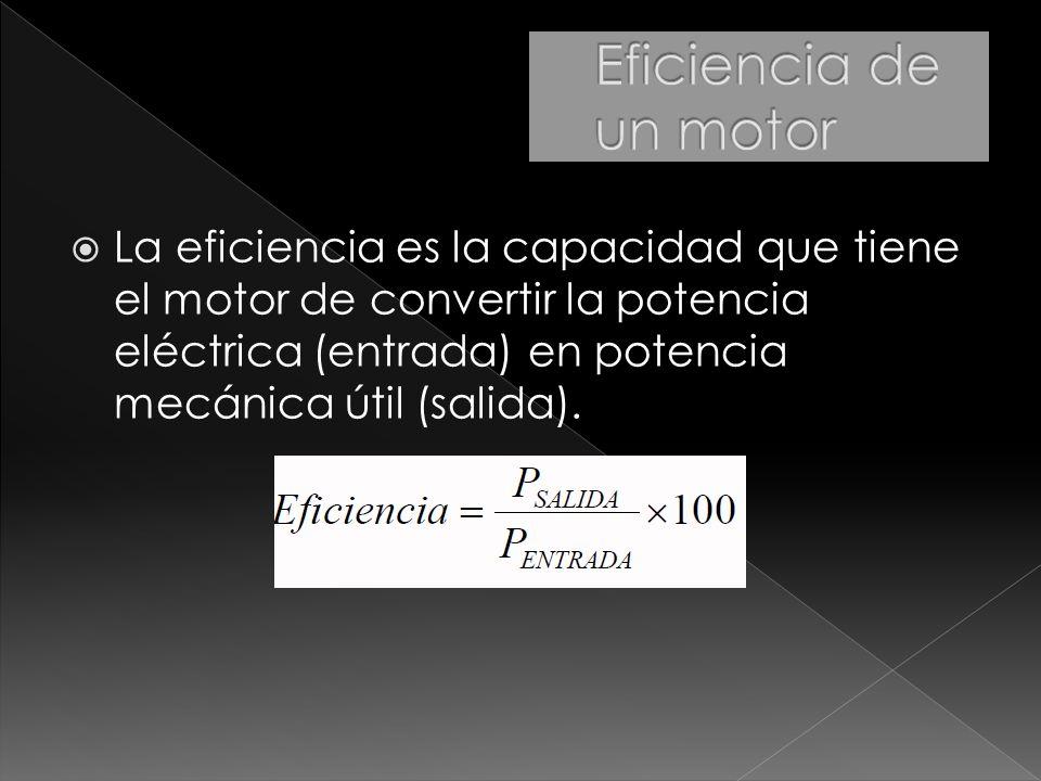 La eficiencia es la capacidad que tiene el motor de convertir la potencia eléctrica (entrada) en potencia mecánica útil (salida).