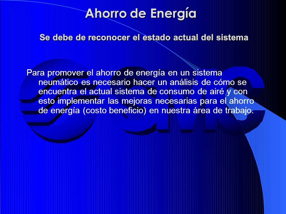Para promover el ahorro de energía en un sistema neumático es necesario hacer un análisis de cómo se encuentra el actual sistema de consumo de airé y