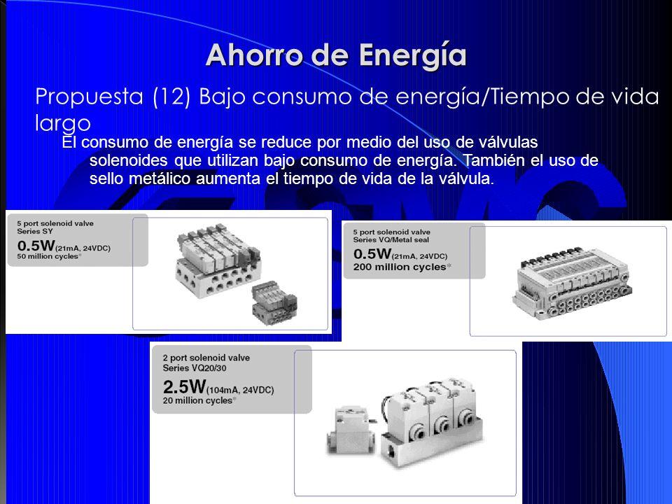 El consumo de energía se reduce por medio del uso de válvulas solenoides que utilizan bajo consumo de energía. También el uso de sello metálico aument