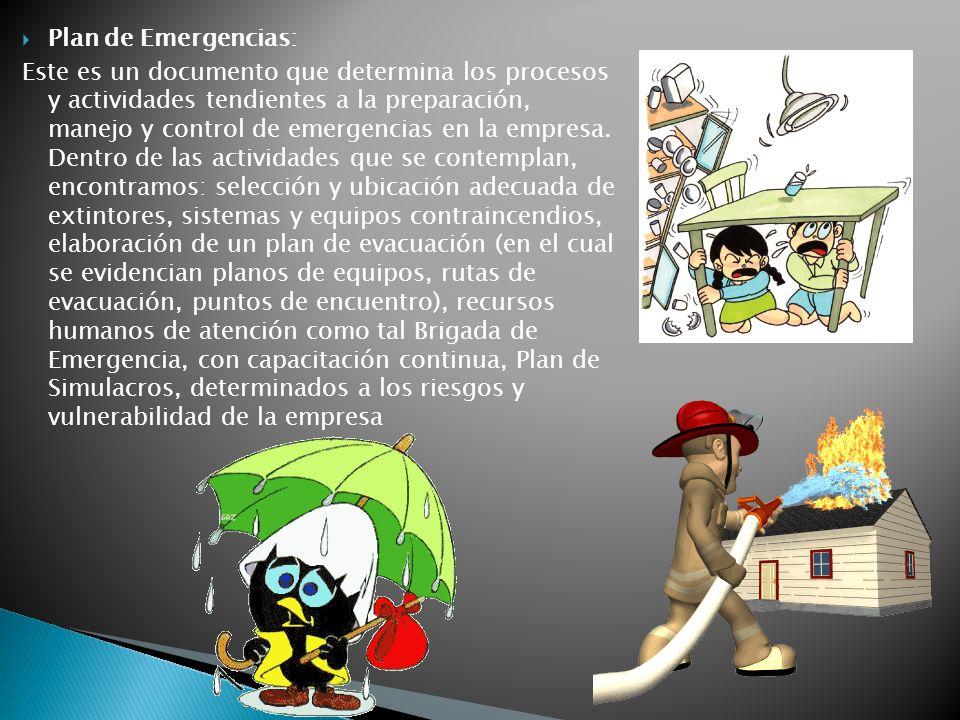 Plan de Emergencias: Este es un documento que determina los procesos y actividades tendientes a la preparación, manejo y control de emergencias en la