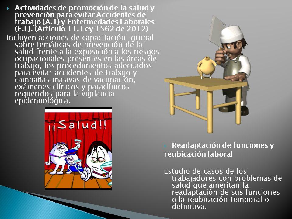 Actividades de promoción de la salud y prevención para evitar Accidentes de trabajo (A.T) y Enfermedades Laborales (E.L). (Artículo 11. Ley 1562 de 20
