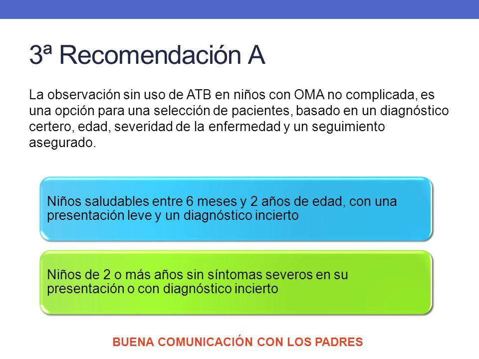3ª Recomendación A La observación sin uso de ATB en niños con OMA no complicada, es una opción para una selección de pacientes, basado en un diagnósti