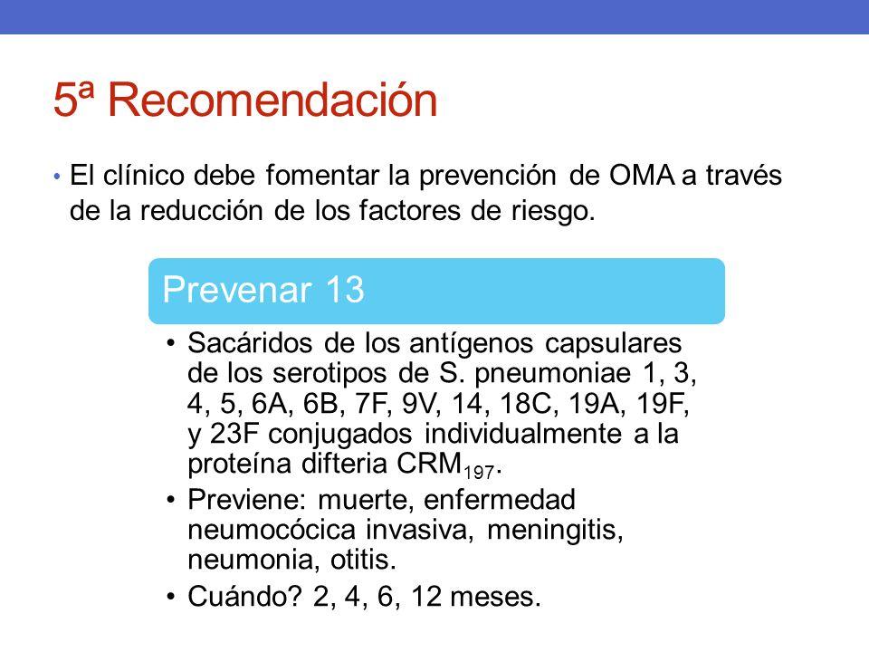 5ª Recomendación El clínico debe fomentar la prevención de OMA a través de la reducción de los factores de riesgo. Prevenar 13 Sacáridos de los antíge