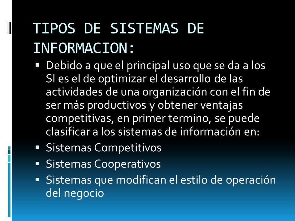TIPOS DE SISTEMAS DE INFORMACION: Debido a que el principal uso que se da a los SI es el de optimizar el desarrollo de las actividades de una organiza