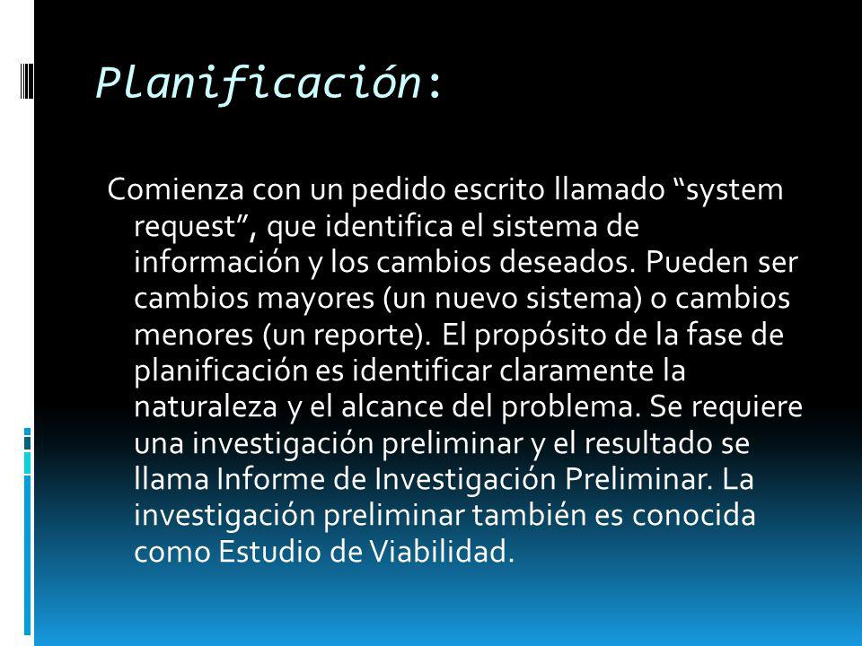 Planificación: Comienza con un pedido escrito llamado system request, que identifica el sistema de información y los cambios deseados. Pueden ser camb