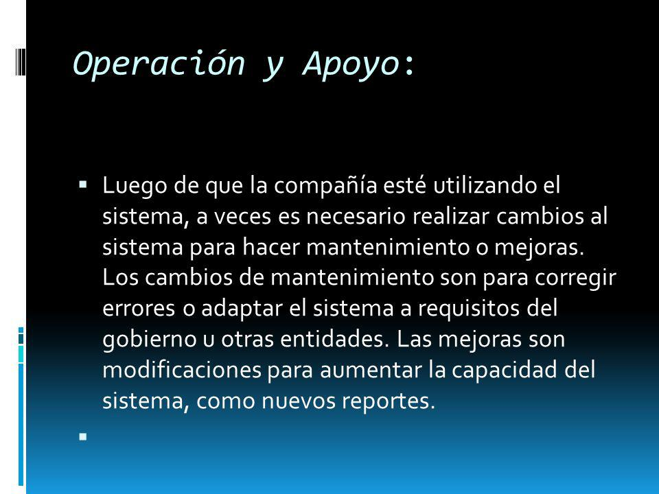Operación y Apoyo: Luego de que la compañía esté utilizando el sistema, a veces es necesario realizar cambios al sistema para hacer mantenimiento o me