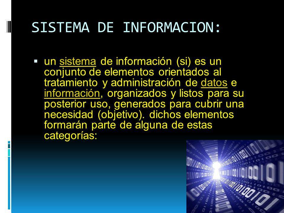 SISTEMA DE INFORMACION: un sistema de información (si) es un conjunto de elementos orientados al tratamiento y administración de datos e información,