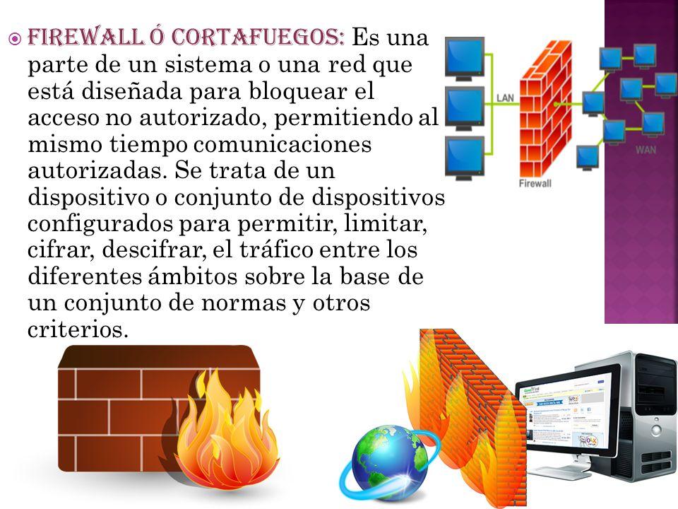 FIREWALL Ó CORTAFUEGOS: Es una parte de un sistema o una red que está diseñada para bloquear el acceso no autorizado, permitiendo al mismo tiempo comu