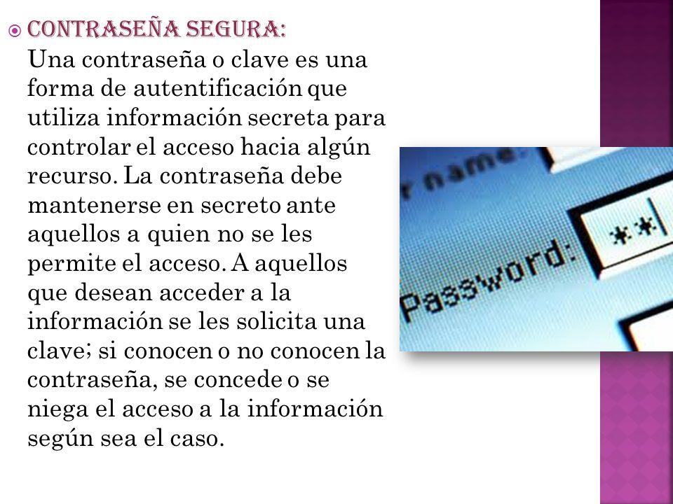 CONTRASEÑA SEGURA: Una contraseña o clave es una forma de autentificación que utiliza información secreta para controlar el acceso hacia algún recurso