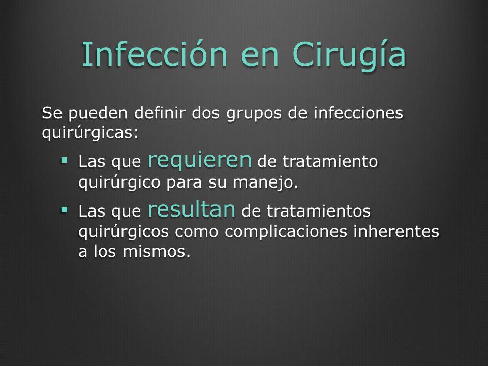 Infección en Cirugía Se pueden definir dos grupos de infecciones quirúrgicas: Las que requieren de tratamiento quirúrgico para su manejo. Las que requ