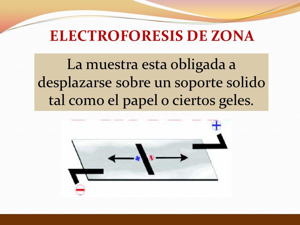 La muestra esta obligada a desplazarse sobre un soporte solido tal como el papel o ciertos geles. ELECTROFORESIS DE ZONA