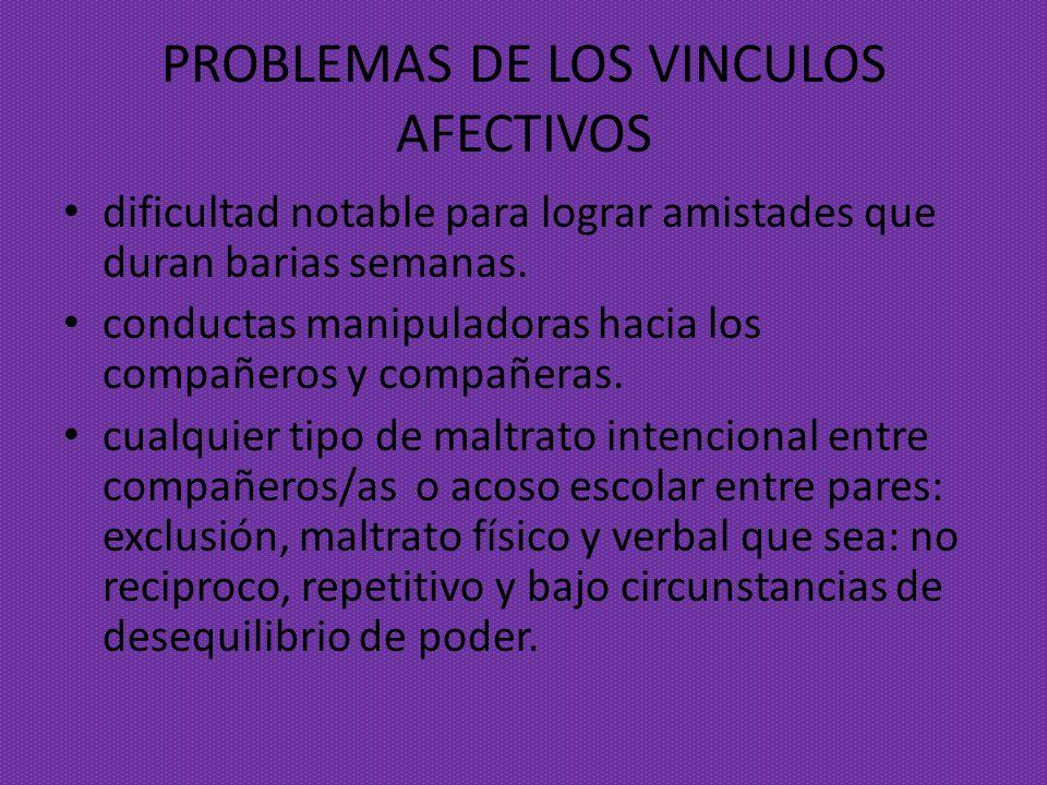 PROBLEMAS DE LOS VINCULOS AFECTIVOS dificultad notable para lograr amistades que duran barias semanas. conductas manipuladoras hacia los compañeros y