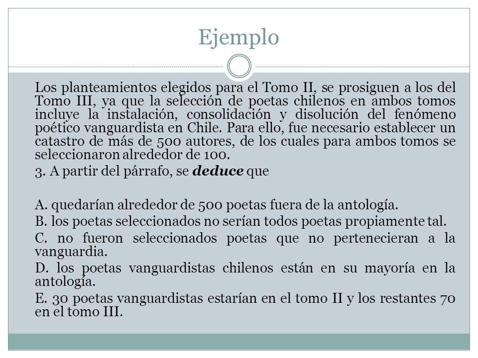 Ejemplo Los planteamientos elegidos para el Tomo II, se prosiguen a los del Tomo III, ya que la selección de poetas chilenos en ambos tomos incluye la