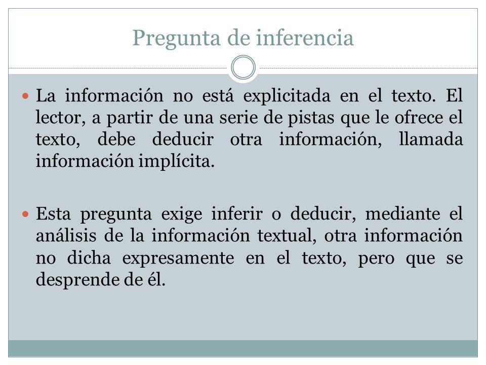 Pregunta de inferencia La información no está explicitada en el texto. El lector, a partir de una serie de pistas que le ofrece el texto, debe deducir