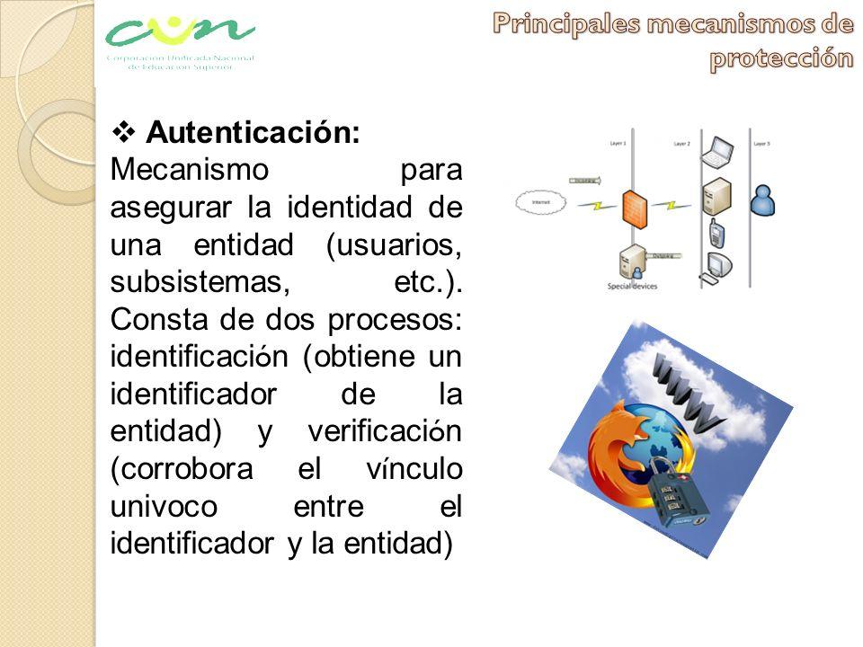 Autenticación: Mecanismo para asegurar la identidad de una entidad (usuarios, subsistemas, etc.). Consta de dos procesos: identificaci ó n (obtiene un