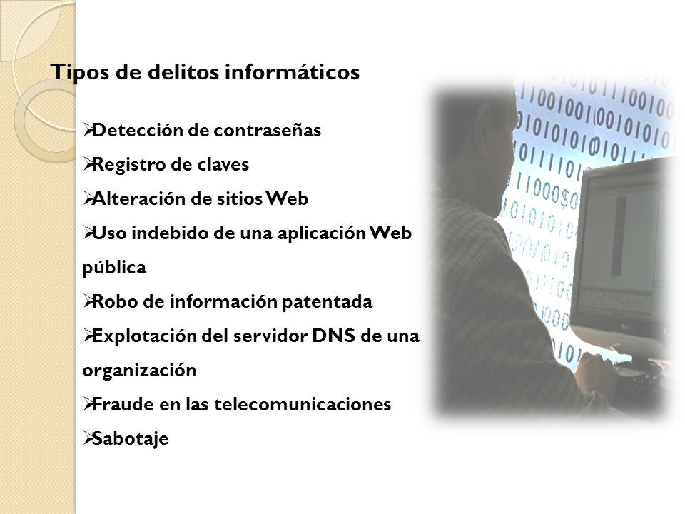 Detección de contraseñas Registro de claves Alteración de sitios Web Uso indebido de una aplicación Web pública Robo de información patentada Explotac