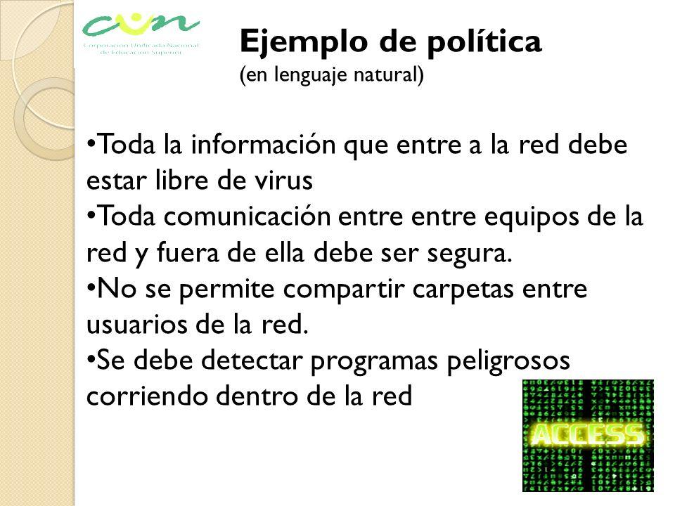 Ejemplo de política (en lenguaje natural) Toda la información que entre a la red debe estar libre de virus Toda comunicación entre entre equipos de la
