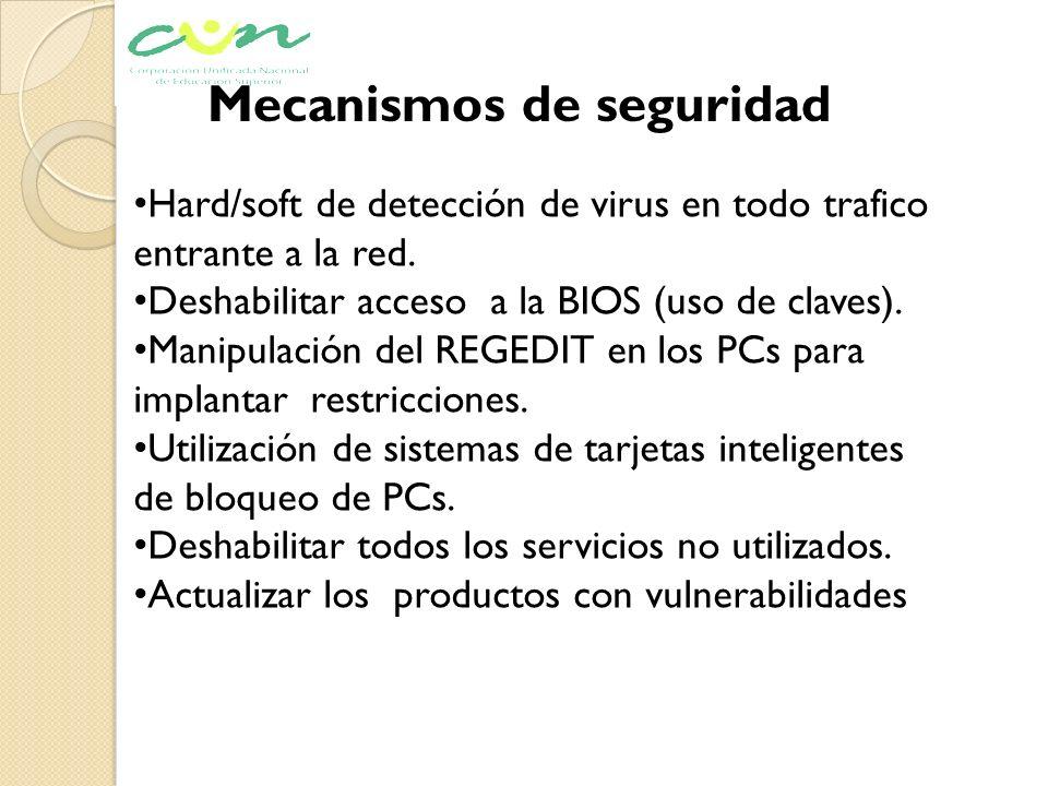 Mecanismos de seguridad Hard/soft de detección de virus en todo trafico entrante a la red. Deshabilitar acceso a la BIOS (uso de claves). Manipulación