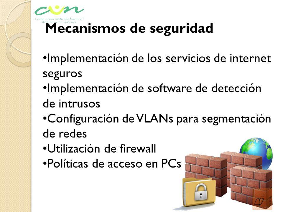 Mecanismos de seguridad Implementación de los servicios de internet seguros Implementación de software de detección de intrusos Configuración de VLANs
