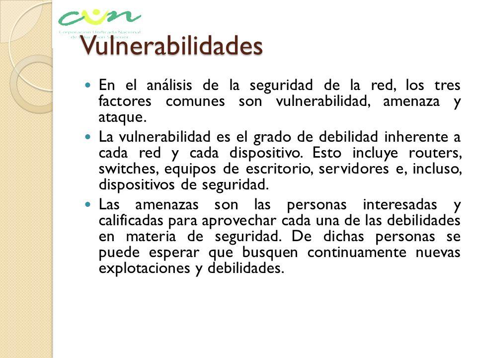Vulnerabilidades En el análisis de la seguridad de la red, los tres factores comunes son vulnerabilidad, amenaza y ataque. La vulnerabilidad es el gra