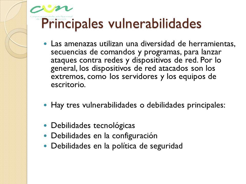 Principales vulnerabilidades Las amenazas utilizan una diversidad de herramientas, secuencias de comandos y programas, para lanzar ataques contra rede