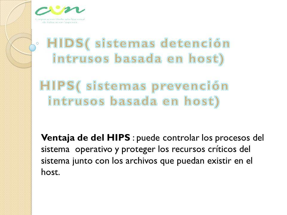 Ventaja de del HIPS : puede controlar los procesos del sistema operativo y proteger los recursos críticos del sistema junto con los archivos que pueda