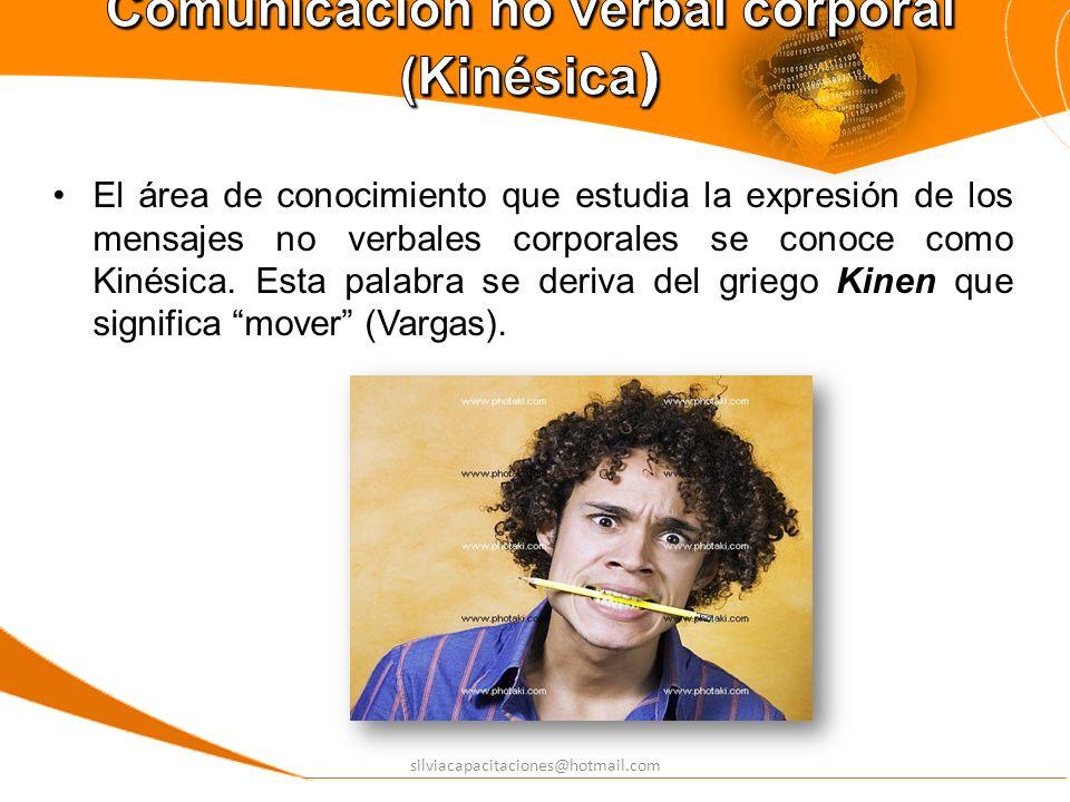 silviacapacitaciones@hotmail.com El área de conocimiento que estudia la expresión de los mensajes no verbales corporales se conoce como Kinésica. Esta