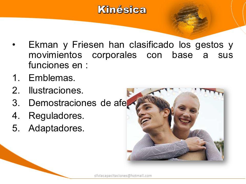 silviacapacitaciones@hotmail.com Ekman y Friesen han clasificado los gestos y movimientos corporales con base a sus funciones en : Emblemas. Ilustraci