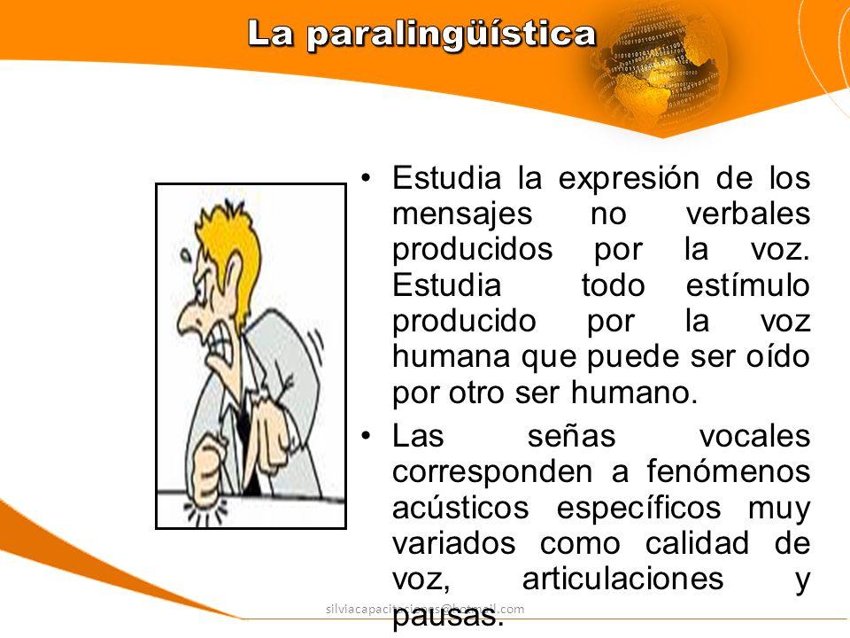silviacapacitaciones@hotmail.com Estudia la expresión de los mensajes no verbales producidos por la voz. Estudia todo estímulo producido por la voz hu