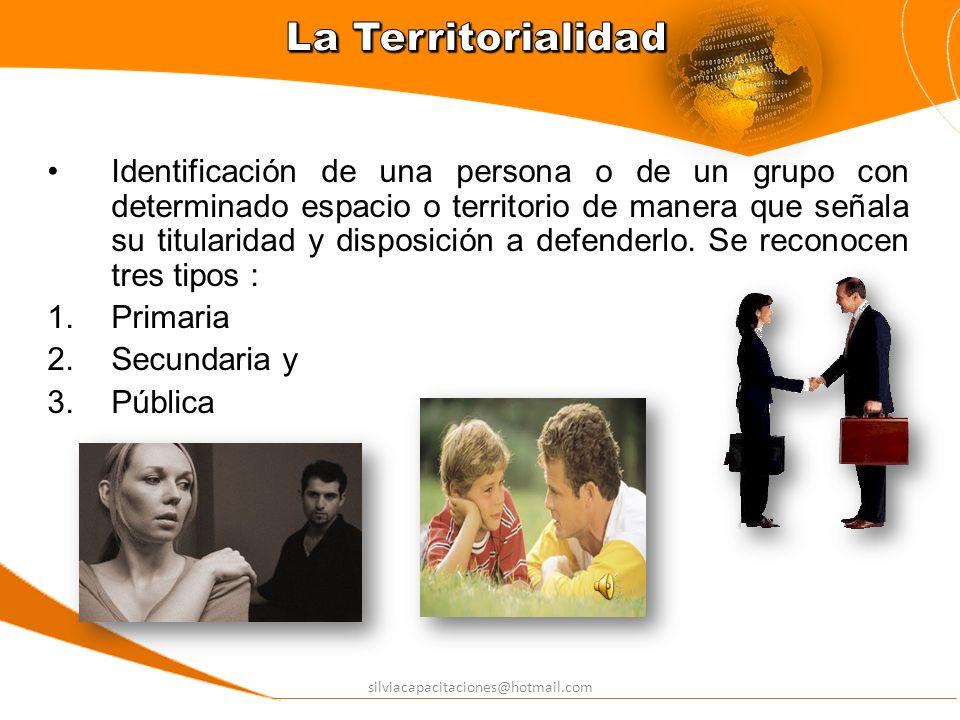 silviacapacitaciones@hotmail.com Identificación de una persona o de un grupo con determinado espacio o territorio de manera que señala su titularidad
