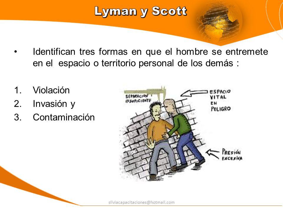 silviacapacitaciones@hotmail.com Identifican tres formas en que el hombre se entremete en el espacio o territorio personal de los demás : 1.Violación