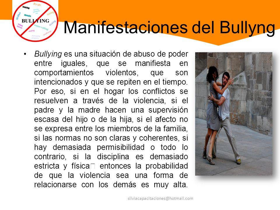 Manifestaciones del Bullyng Bullying es una situación de abuso de poder entre iguales, que se manifiesta en comportamientos violentos, que son intenci