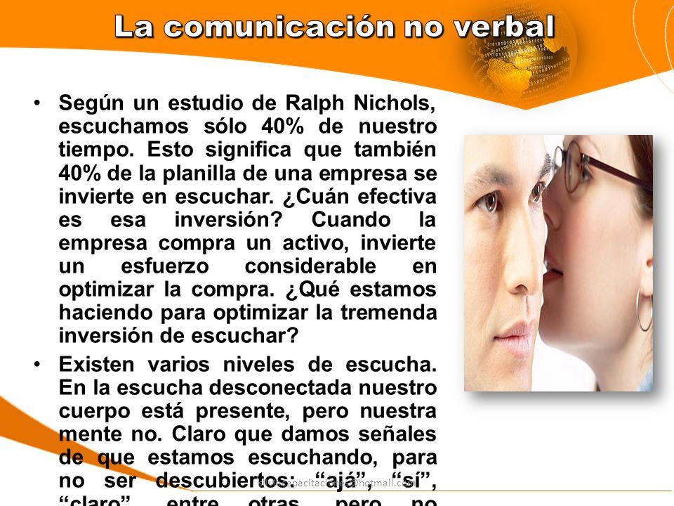 Según un estudio de Ralph Nichols, escuchamos sólo 40% de nuestro tiempo. Esto significa que también 40% de la planilla de una empresa se invierte en